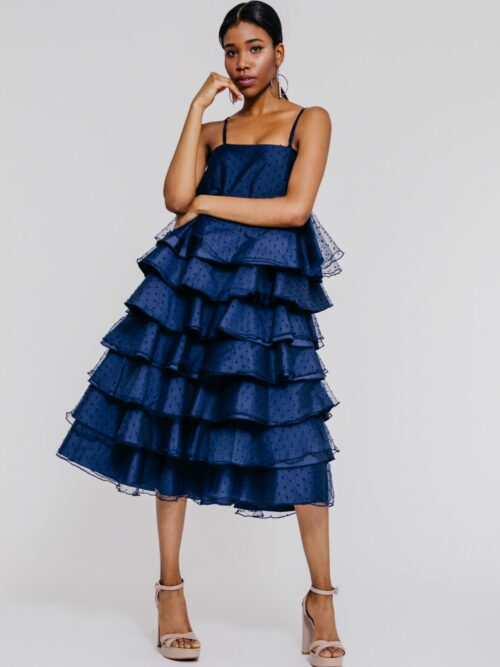 """7 tiered organza polka dot midi frock"" ""slip dress"""