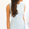 """Round neck sleeveless asymmetric midi dress"" ""draped tee length cocktail dress"""