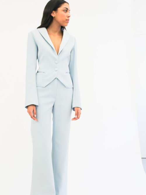 Tuxedo pants suit in pastel colour