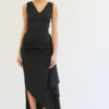 Susan asymmetric V neck dress