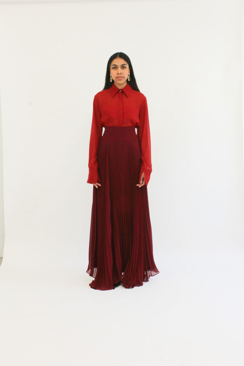 Red Silk shirt blouse/chemise en mousseline de Soie rouge