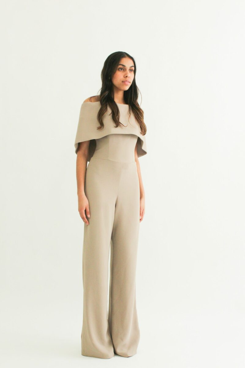 """One piece cape look"" Jumpsuit with bustier top"" loose pants"""