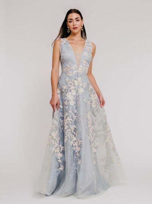 """""""Tulle v neck flower gown"""" """"full skirt tulle mother of the bride dress"""""""