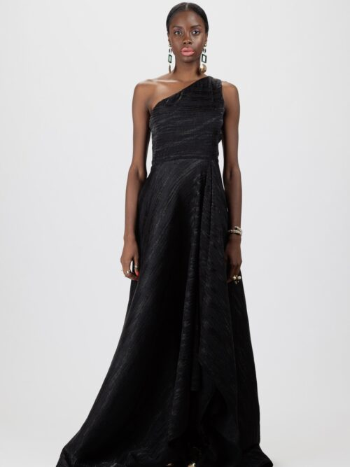 """Asymmetric draped gown"""