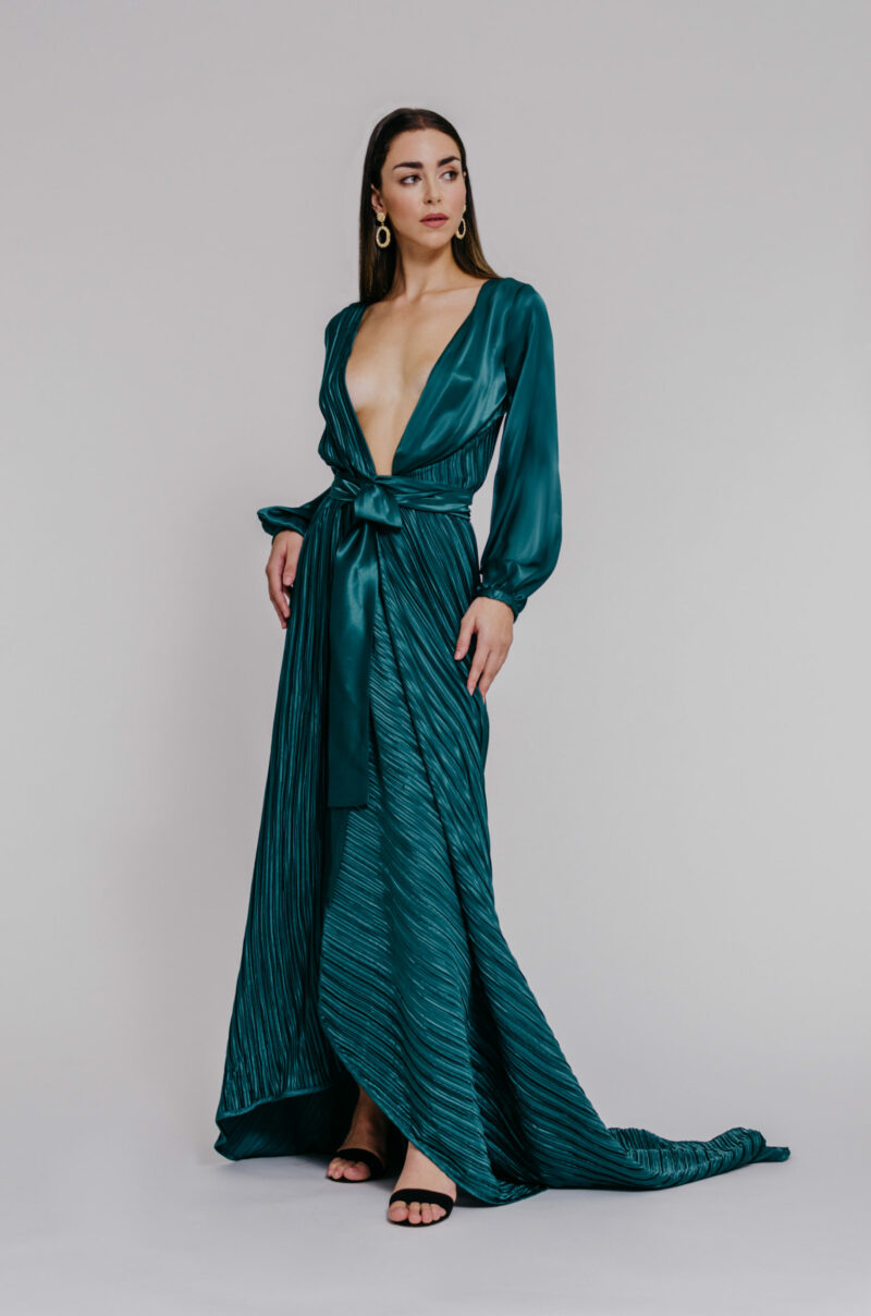 """Plunging neckline gown"" ""full sleeves satin gown"""
