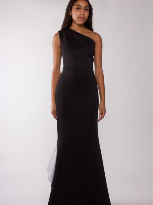 """Black one shoulder draped gown"""
