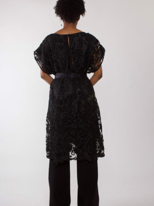 """Black beaded party dress"""