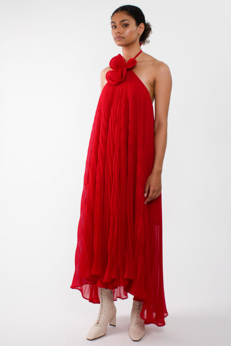 """ loose pleated chiffon maxi dress"""