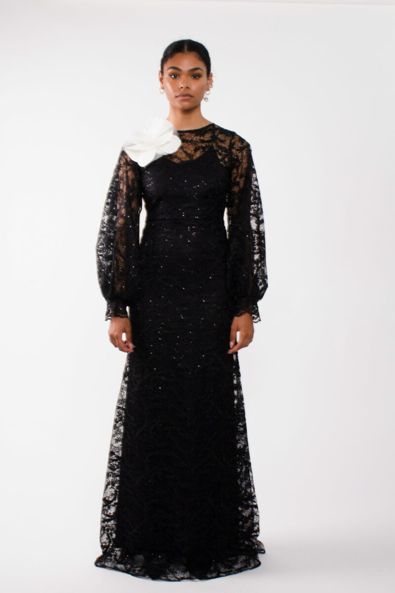 """""""Evening lace gown""""""""long puff sleeve gown"""""""