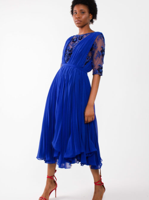 """pleated chiffon dress""""Flowy midi dress"""