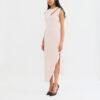 Black wool crepe midi dress Pink