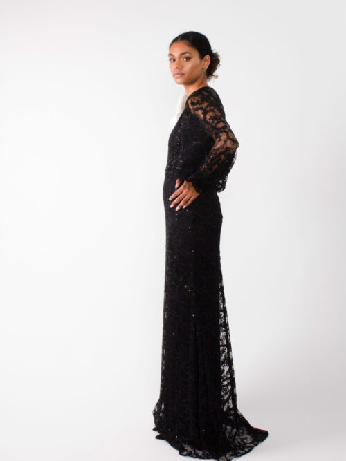 """Evening designer lace gown"""