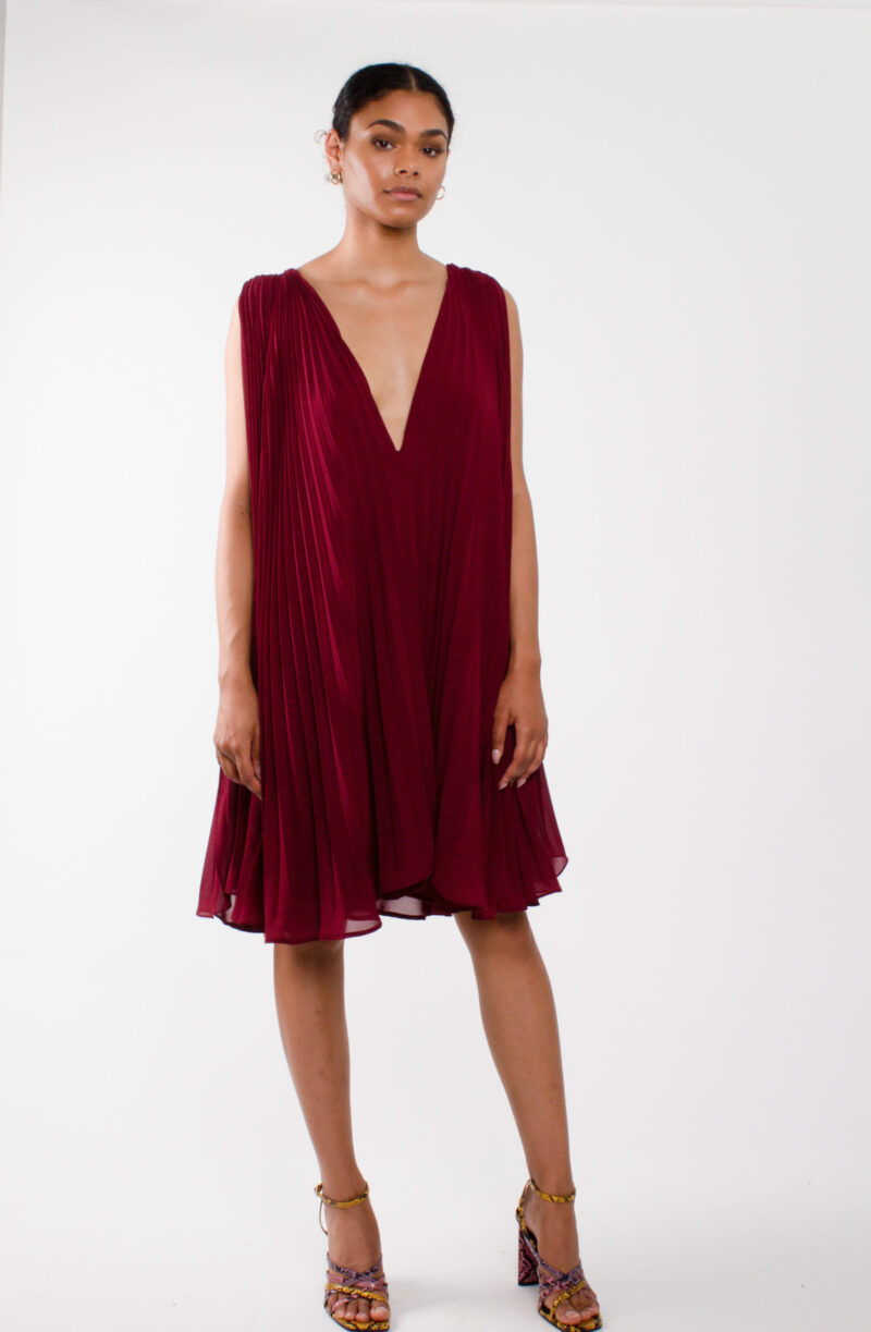 """Plunging neckline dress"" ""pleated chiffon cocktail dress"""