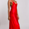 Red satin draped back slip dress