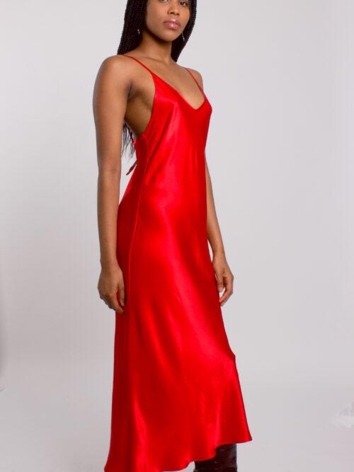 Red satin draped back slip dress