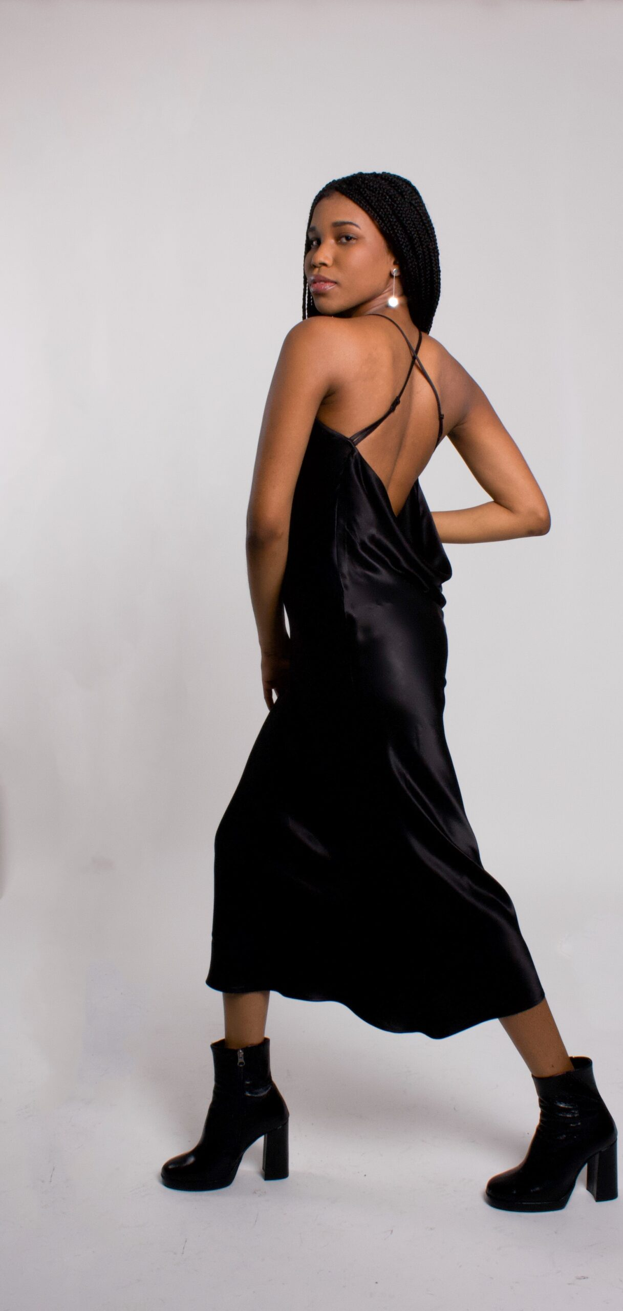 Black satin draped back dress