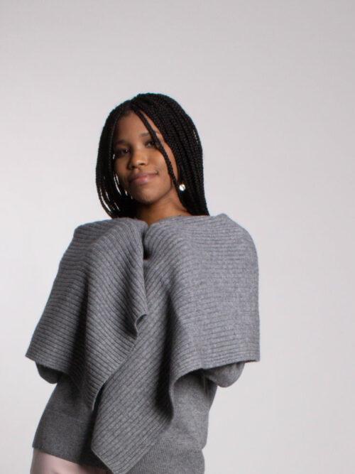 Cashmere and Wool Rib Scarf Grey