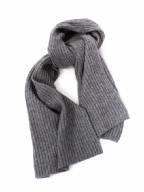 Cashmere and Wool Rib Scarf Grey