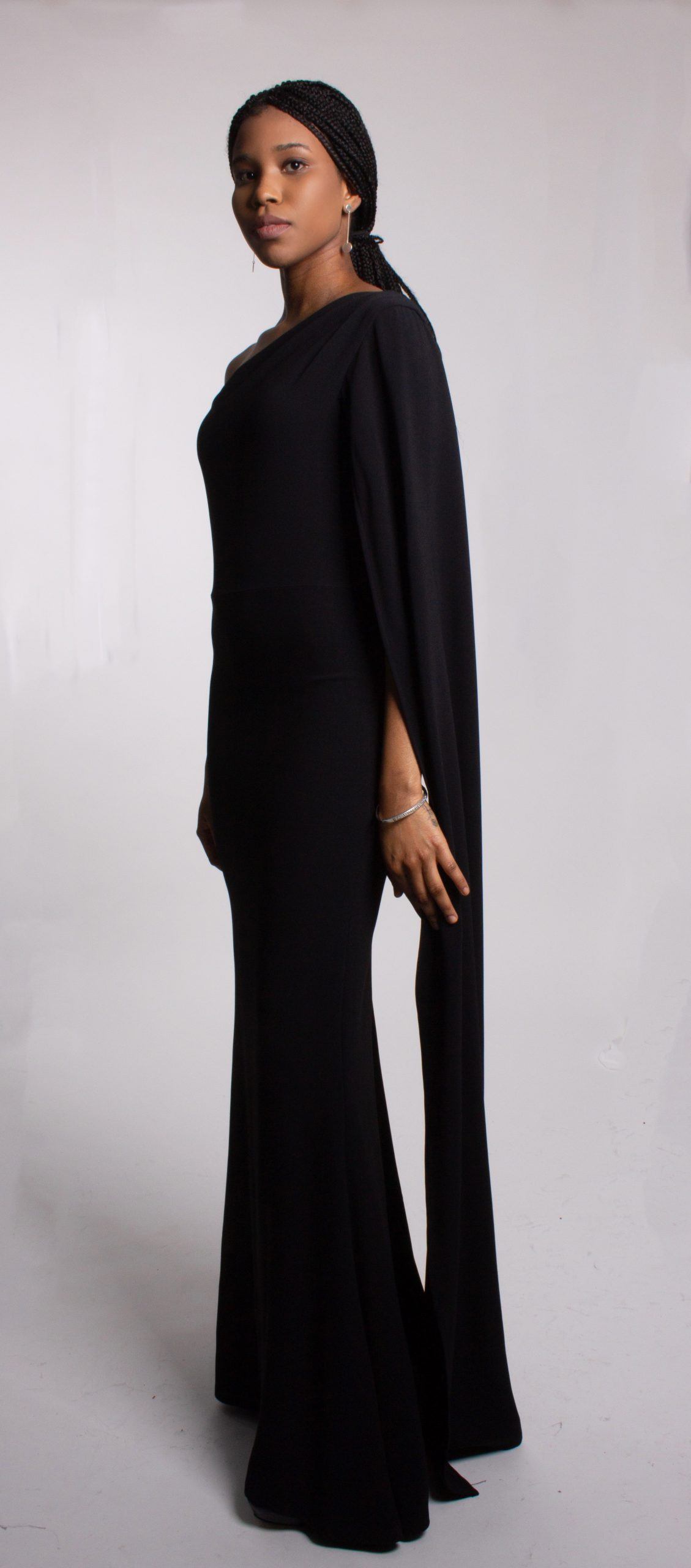 Gillian One shoulder Cape Gown