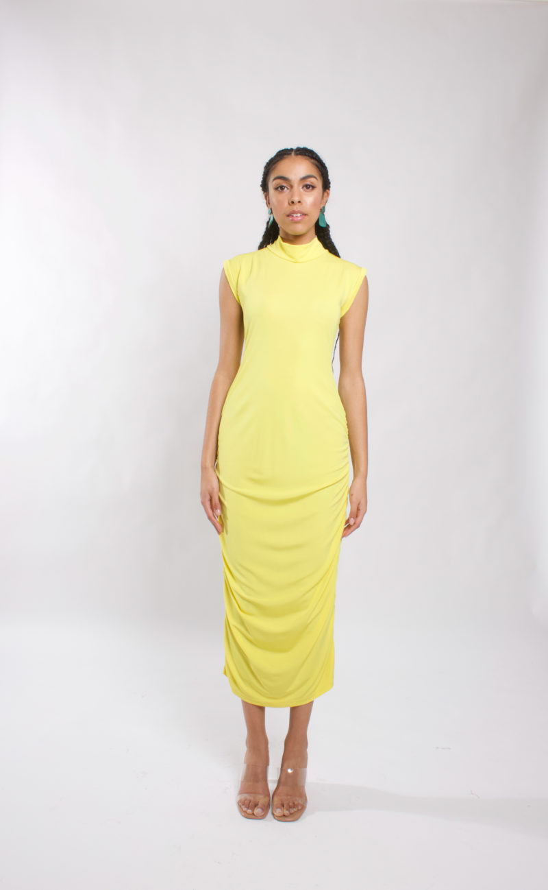 This is a high neck dress with ruching on both sides. This is a midi dress.
