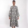 "Brocade puff sleeve dress ""midi length brocade dress"""