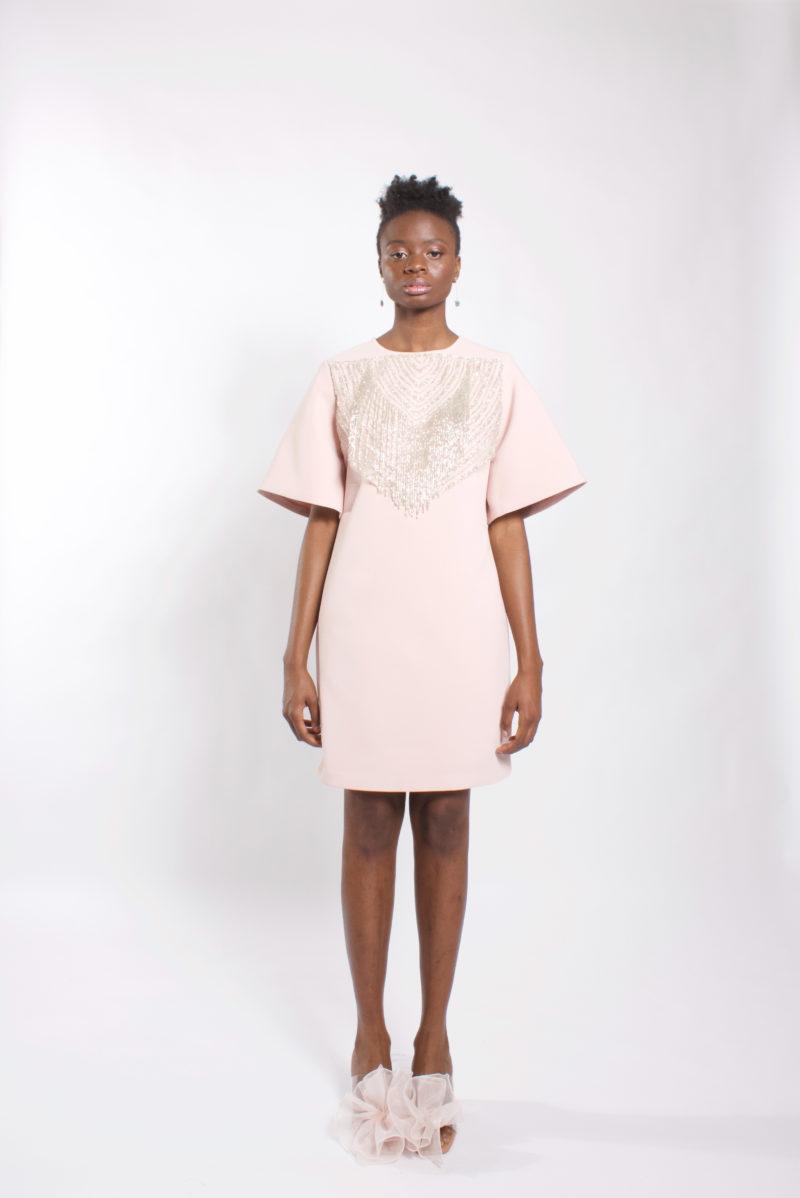 """3/4 wide sleeve knee length dress"""" embellished neckline blush dress"""