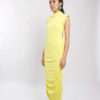 This is a midi dress with ruching on both sides
