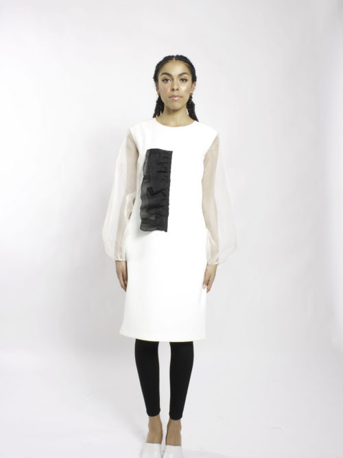 Cocktail black and white dress with long silk organza puff sleeve