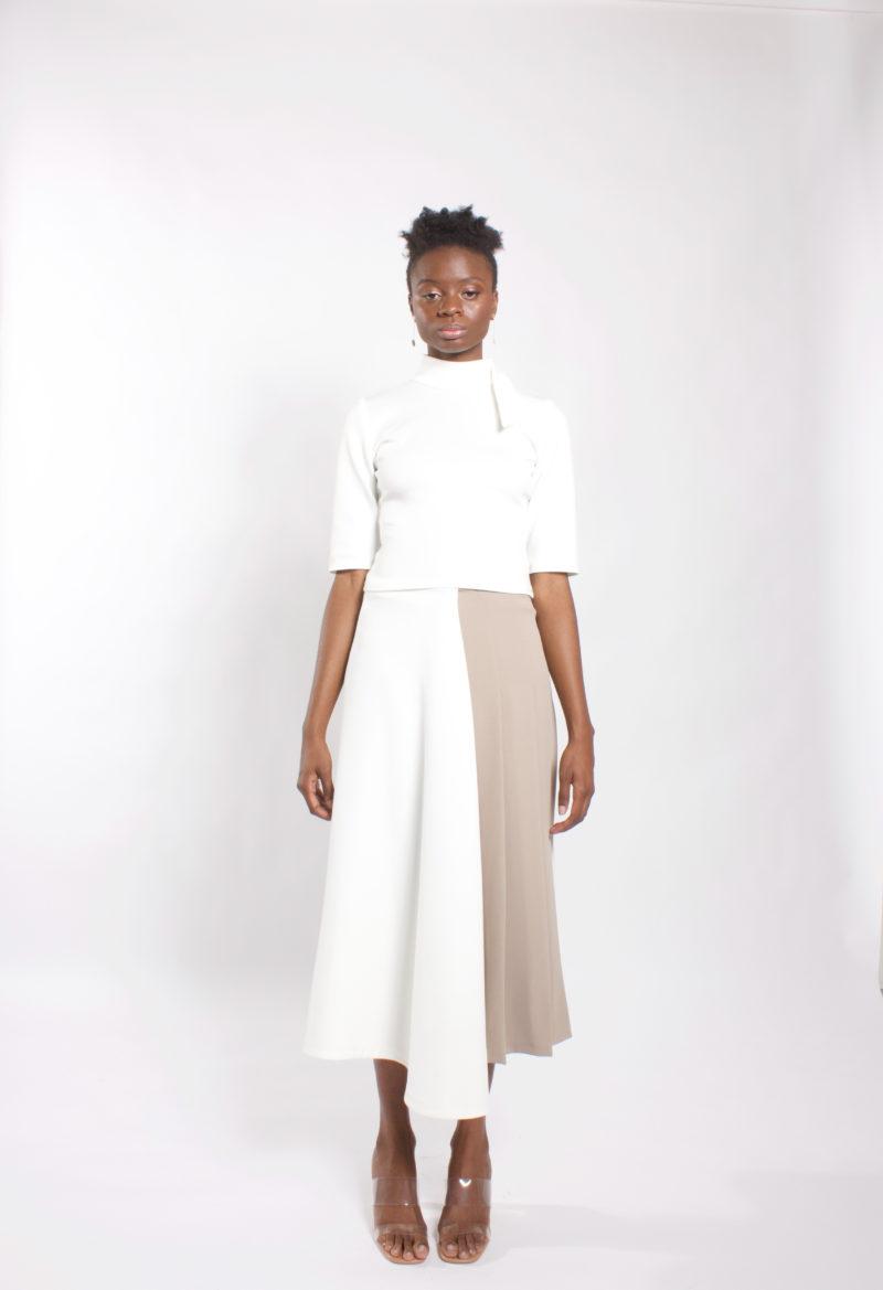Two tone midi skirt .