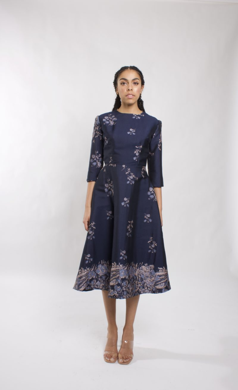 A-line Floral cocktail dress with 3/4 sleeve